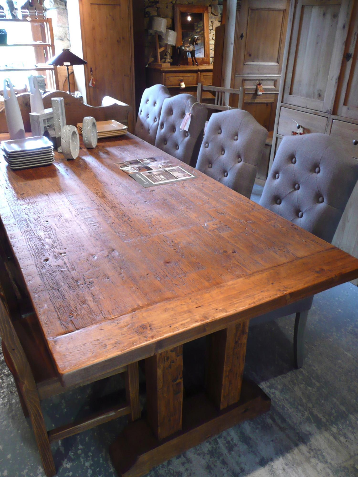 Table De Ferme En Vieux Bois (pin) Finition Cirée
