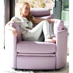 MOON (Fama) Fauteuil relax Manuel Cuir, Basculant Pivotant