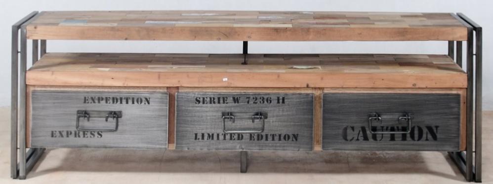 meuble bas t l vision fer bois 3 tiroirs. Black Bedroom Furniture Sets. Home Design Ideas