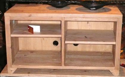 meuble tv hifi en vieux plancher cir incolore style antique. Black Bedroom Furniture Sets. Home Design Ideas