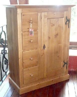 armoire 1 porte 4 tiroirs en vieux bois recycl style antique. Black Bedroom Furniture Sets. Home Design Ideas