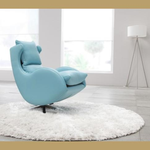 fauteuil de relaxation pivotant basculant lenny fama cuir bleu ciel. Black Bedroom Furniture Sets. Home Design Ideas